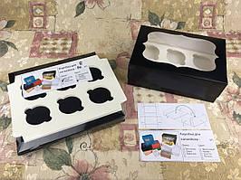 Коробка для 6-ти кексов / 250х170х90 мм / печать-Черн / окно-обычн