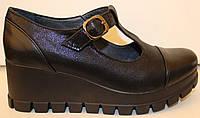 Туфли женские кожаные на танкетке, кожаные туфли женские от производителя модель БМ60