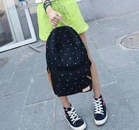 Школьный рюкзак в горошек Черный