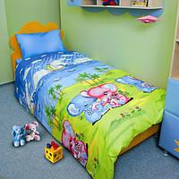 Детское двухспальное постельное белье в слоники