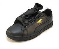 Кроссовки женские Puma Suede кожаные черные (р.36,37,38,39,40)