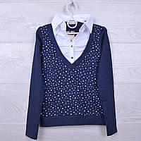 """Джемпер-обманка """"Звезды"""" #6633 для девочек. 140-176 см. Синяя. Школьная форма оптом"""