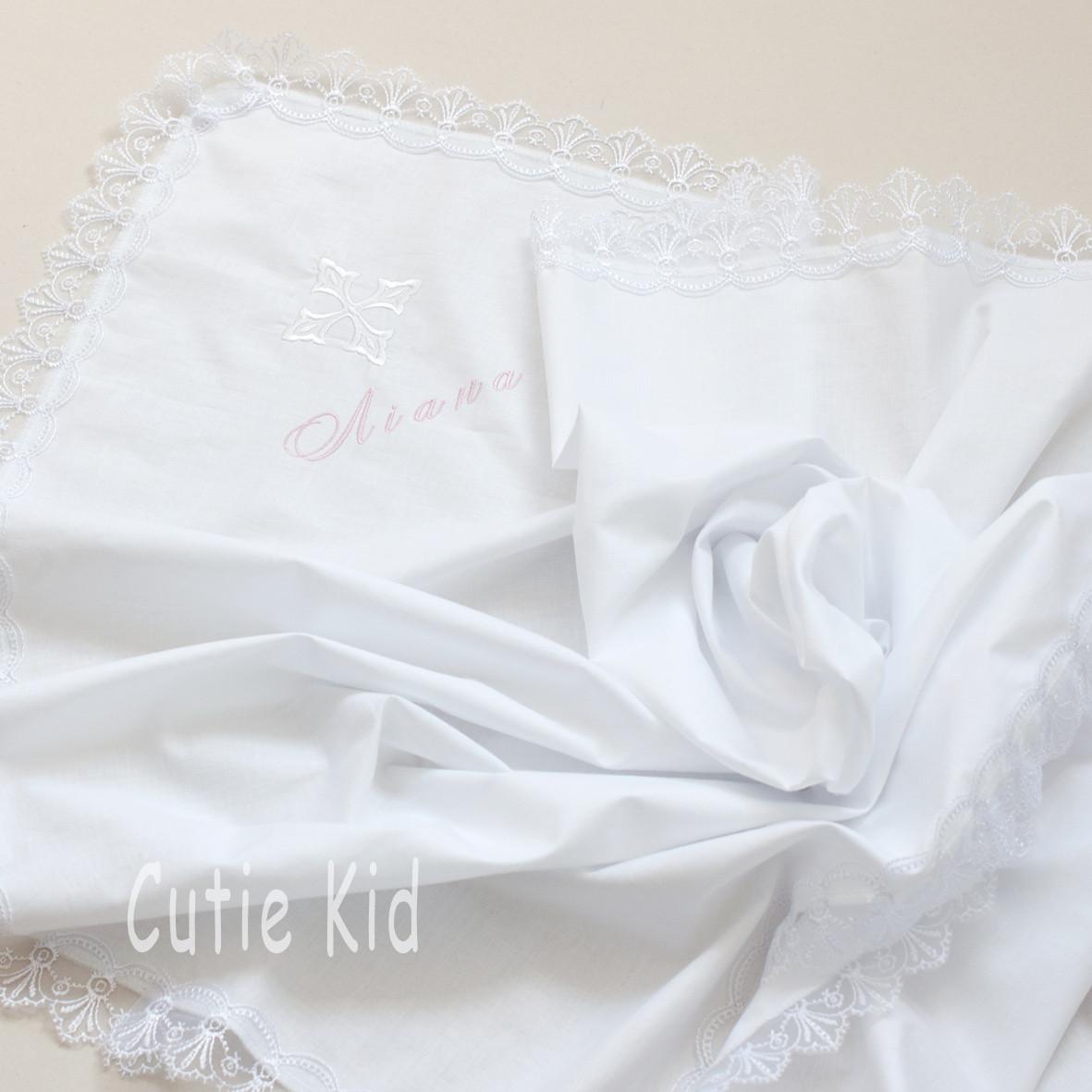Крыжма для крещения белая с вышывкой