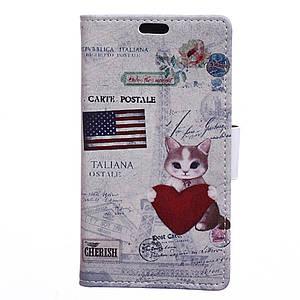 Чехол книжка для Huawei Honor 8 Pro / Honor V9 боковой с отсеком для визиток, USA cat