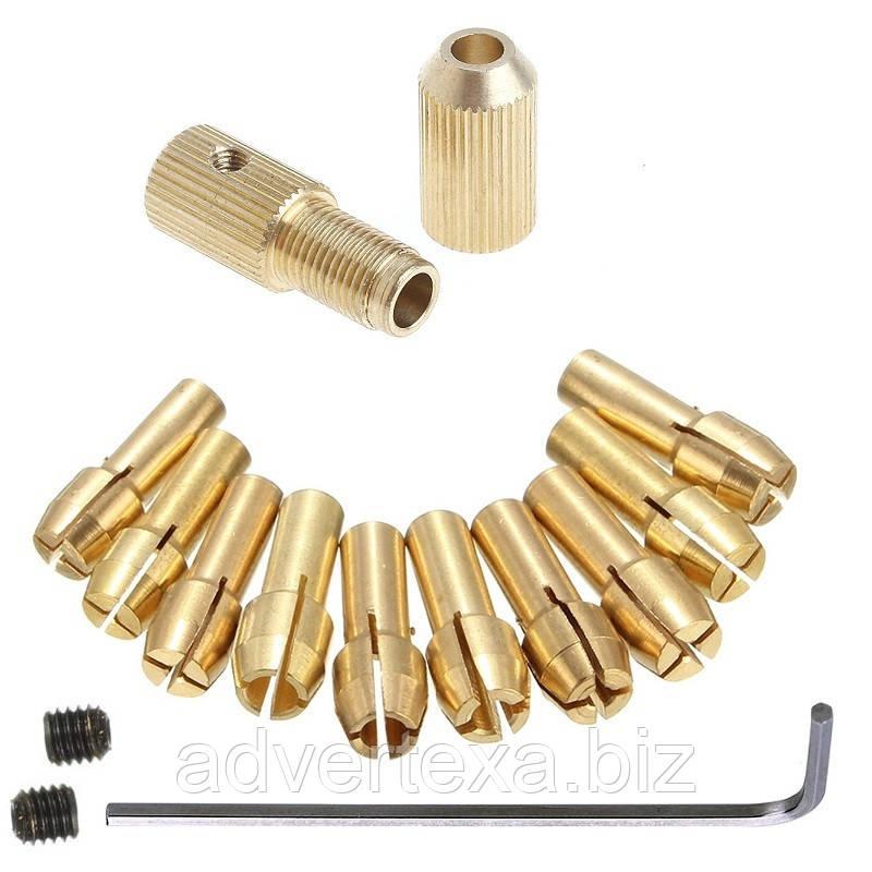 Патрон цанговый на вал 2.0 мм. зажим 0.5 мм. - 3.2 мм. + 10 цанг + ключ. Для  мини дрели
