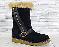 Угги с молнией по голени. Натуральный замш.Обувь от украинского производителя. 1246