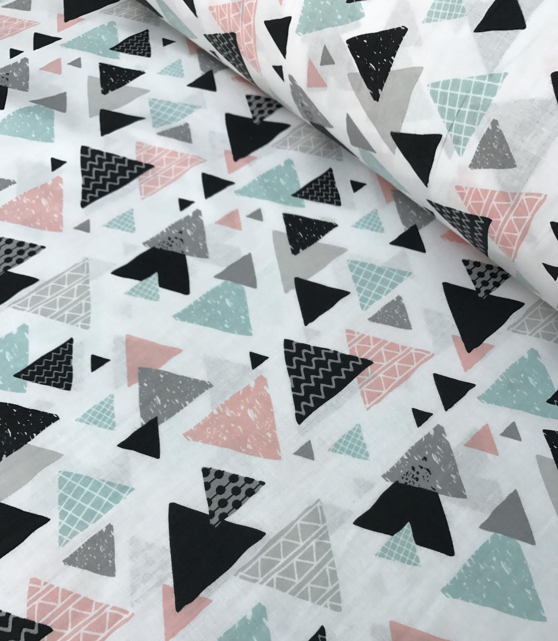 Хлопковая ткань польская шлифованная треугольники разноцветные №574