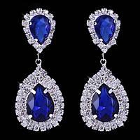 Серьги капли с синими кристаллами