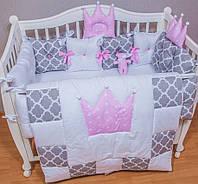 Защита, бортики и одеяло с постельным. Комплект в детскую кроватку из 11 позиций. Для девочки.
