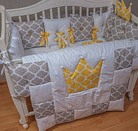Защита, бортики в кроватку. Комплект в детскую кроватку из 11 позиций.