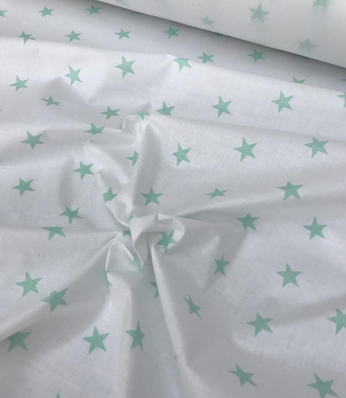 Хлопковая ткань польская шлифованная мятные звезды на белом №571