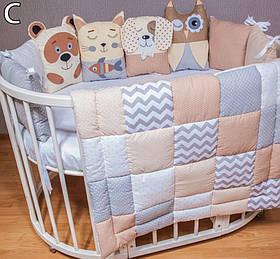 Комплект в ліжечко ручна робота, ковдру,захист, постільна