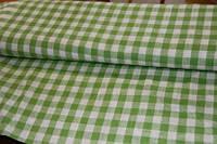 Льняная скатертная ткань, в салатовую клетку, Italian pizzeria, фото 1