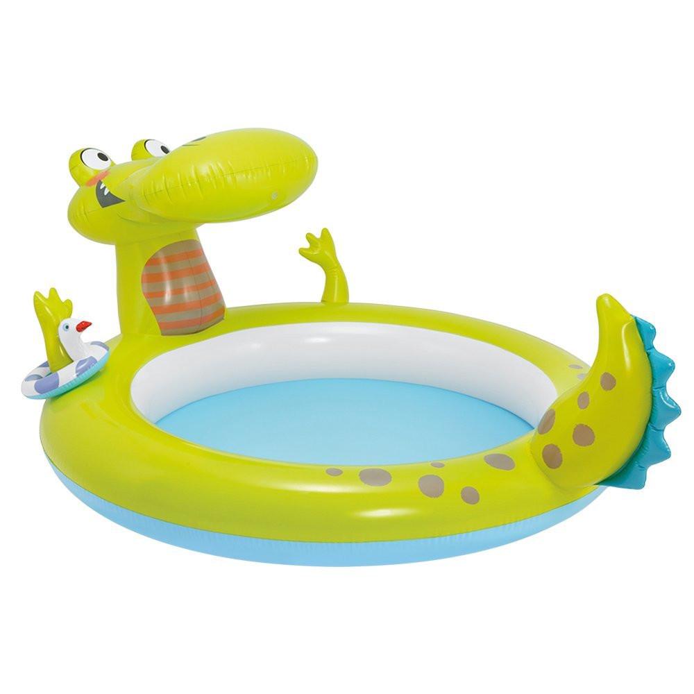 """Детский надувной бассейн Intex """"Крокодил"""", с фонтаном, 198x160х91 cм   (57431)"""
