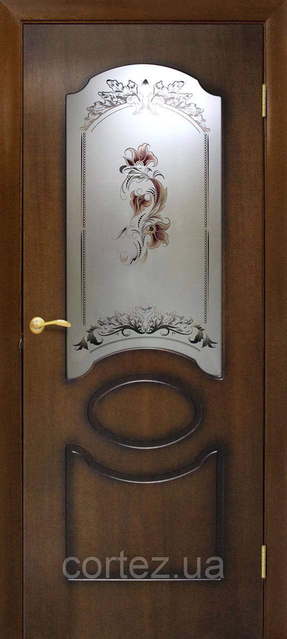 Межкомнатные двери пвх Виктория СС цветок орех лесной