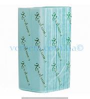 Бумажные полотенца листовые, макулатурные, зеленые «Кохавинка» V-сложения