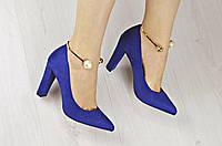 Туфли женские на удобном каблуке с браслетом Замшевые
