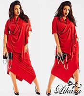 Элегантное женское платье миди, батал