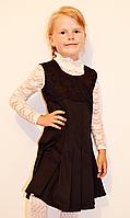 Нарядный качественный детский школьный сарафан с кружевом