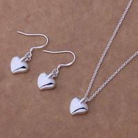 Набор Маленькие сердечки 925 серебро проба (серьги, цепочка, кулон)