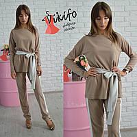Костюм женский удлиненная блуза с поясом и брюки креп-дайвинг разные цвета Df600