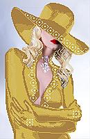 Схема вышивки бисером Девушка блонд (золото)