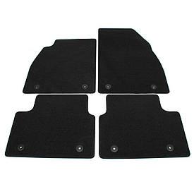 Коврики в салон (комплект ковров (ковриков) 4 шт) напольные чёрные ковролин с мелким гофрированием (прорезинен