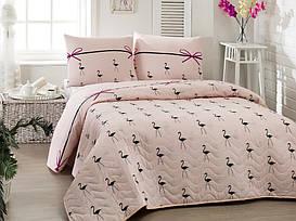 Покрывало стеганное с наволочкой Eponj Home Flamingo Pudra 160*220 полуторного размера