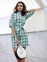 Платье Клетка Модное Короткое Мини под пояс