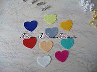 Фетровая высечка Сердечки цвет МИКС 4,5*3,8 см