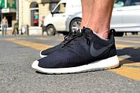 Кроссовки найки рош ран Nike Roshe Run черн+серый значок