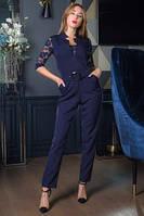 Женский синий комбинезон в романтическом стиле, фото 1