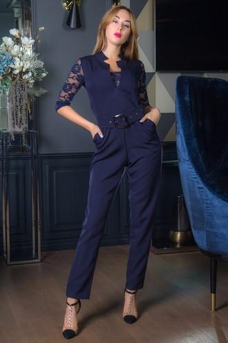 Женский синий комбинезон в романтическом стиле