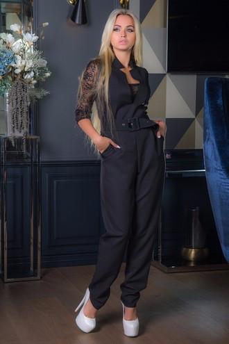 Женский черный комбинезон в романтическом стиле
