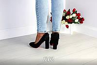 37 размер! Туфли женские на каблуке экозамш черные с бантом