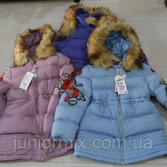 0a1f8839babe Зимняя детская куртка с вишивкой на рукаве для девочек GRACE