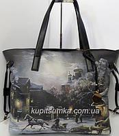 Прекрасная брендовая сумка из качественного кожзаменителя с зимним принтом