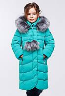 Детское теплое зимнее пальто на девочку за колено.