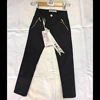 Школьные подростковые котоновые чёрные брюки для девочек оптом F&D