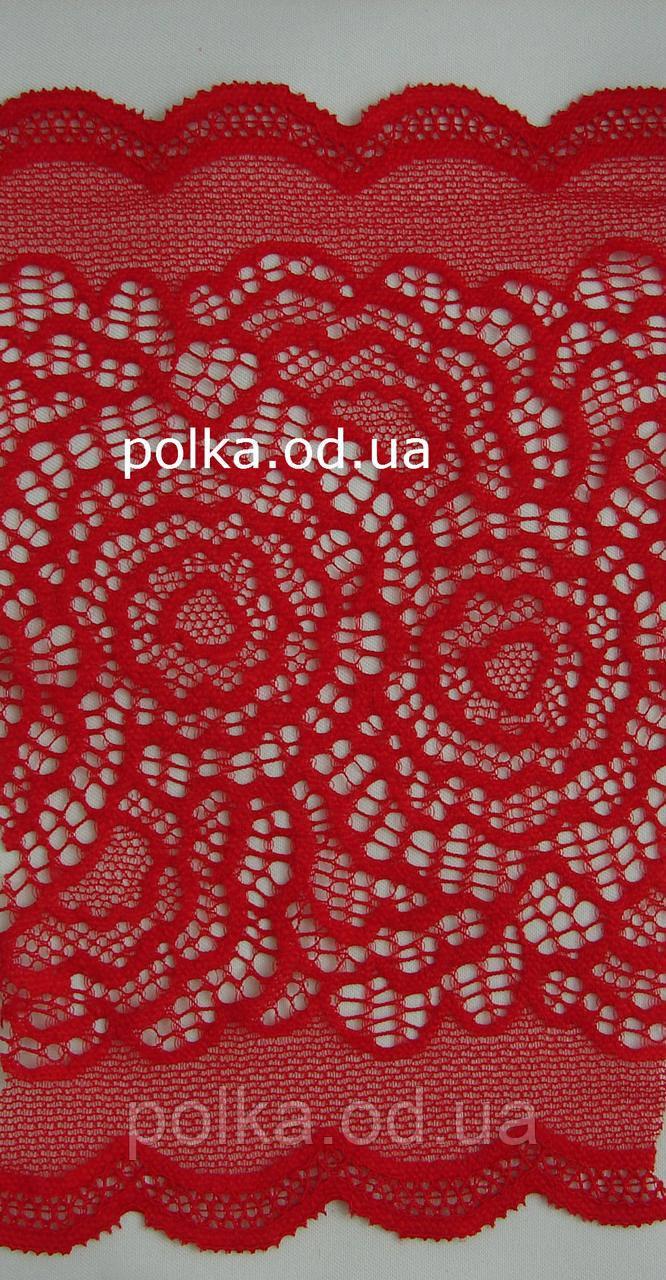 Стрейчевое мереживо - І-9,колір червоний