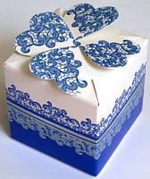 Свадебные бонбоньерка (маленькая коробочка для конфет) (цвет: белый с сине-голубым узором)
