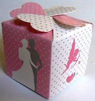 Свадебные бонбоньерка (маленькая коробочка для конфет) (цвет: бело-розово-серый)