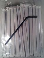 Трубочка для коктейля в индивидуальной упаковке d4.8-21см Черн\гофра (Гч инд.уп.35х200) (200 шт)
