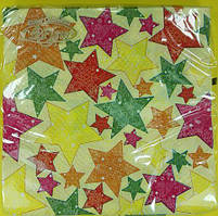 Новогодние бумажные салфетки (ЗЗхЗЗ, 20шт)  La FleurНГ Новогодние звёзды (132) (1 пач)