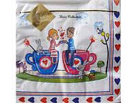 Салфетки бумажные сервировочные одноразовые свадебные (ЗЗхЗЗ, 20шт) Luxy  Первая любовь (240) (1 пач)