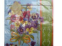 Салфетка бумажная декоративная (ЗЗхЗЗ, 20шт) Luxy  Букет фиалок(530) (1 пач)