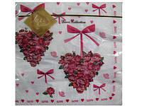 Салфетки бумажные с рисунком свадебные (ЗЗхЗЗ, 20шт) Luxy  Сердце из роз (102) (1 пач)