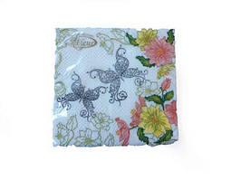 Салфетка бумажная декоративная (ЗЗхЗЗ, 20шт)  La Fleur Кружевные бабочки (202) (1 пач)
