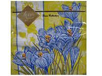 Салфетки трехслойные бумажные с рисунком (ЗЗхЗЗ, 20шт) Luxy  Весенние крокусы (808) (1 пач)