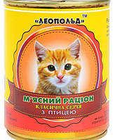 Мясной рацион для котов с птицей
